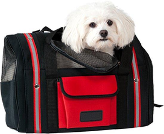 Karlie Smart Bag Rugzak tot 6 kg - Zwart/Rood - 44 x 30 x 21 cm