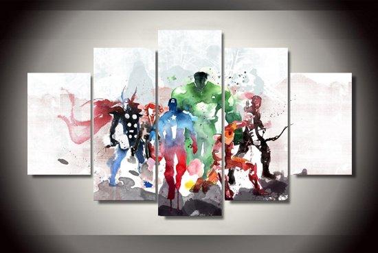 Foto Op Wanddecoratie.Bol Com Marvel Avengers Watercolour 5 Delige Canvas Wanddecoratie