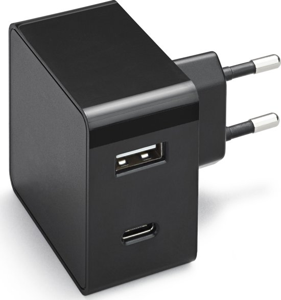 Azuri PD and QC home charger with 1xUSB-C port, 1xUSB A port - zwart - 30W