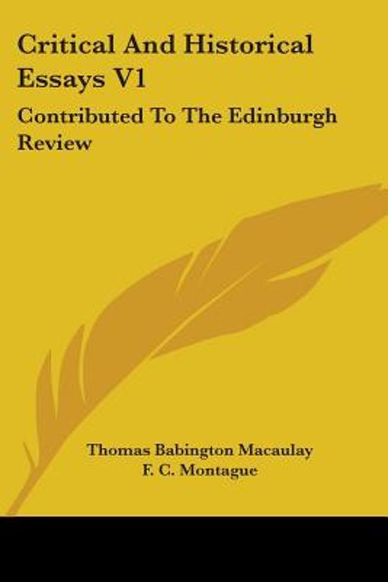 alle boeken van schrijver thomas babington macaulay baron macaulay  boek cover critical and historical essays v1 van baron thomas babington macaulay paperback