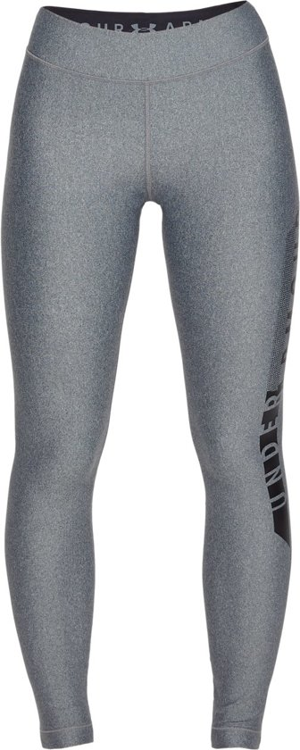 Under Armour HG Armour Graphic Legging Sportlegging Dames - Pitch Gray Light Heather - Maat XL