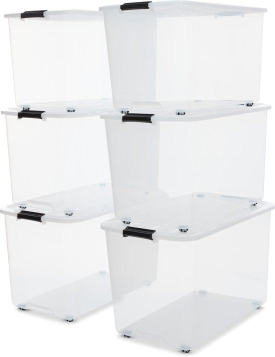 IRIS Rollerbox opbergbox - 70L - 6 stuks - Transparant