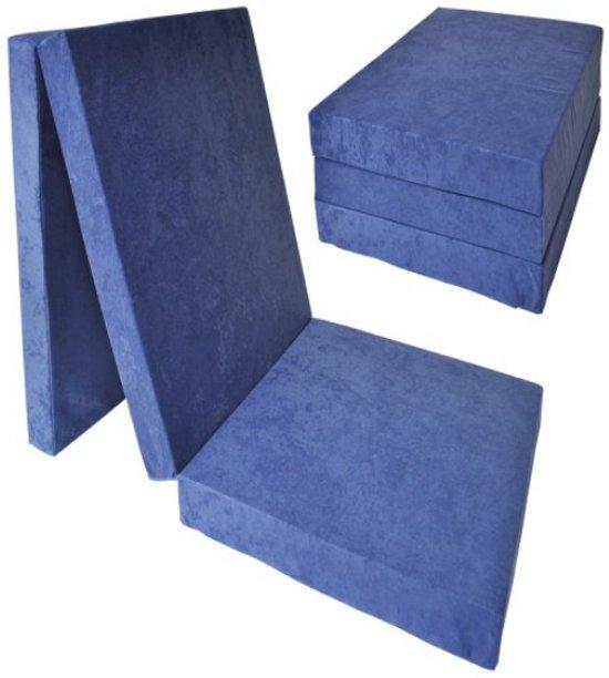 Logeermatras extra dik - navy blauw - camping matras - reismatras - opvouwbaar matras - 195 x 80 x 15