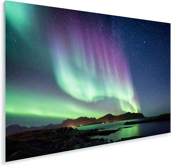 Kleurrijk noorderlicht in het Europese Noorwegen Plexiglas 180x120 cm - Foto print op Glas (Plexiglas wanddecoratie) XXL / Groot formaat!
