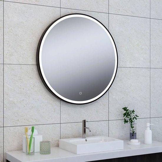 Badkamer Spiegel Met Verwarming En Verlichting.Badkamerspiegel Maro Rond 80x80cm Geintegreerde Led Verlichting Verwarming Anti Condens Touch Schakelaar Mat Zwart