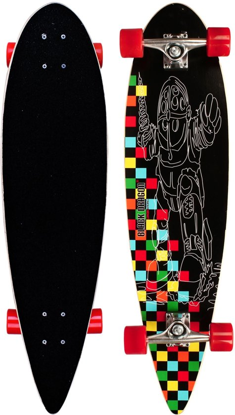 "Black Dragon Longboard 36"" Pintail - Tropical Funk - Zwart/Rood/Geel/Oranje/Groen"