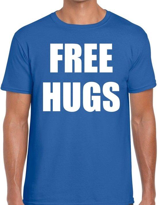 Free hugs tekst t-shirt blauw heren M