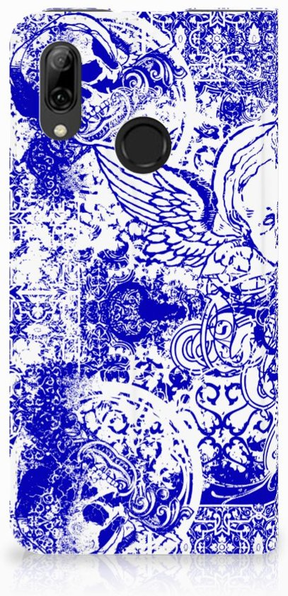Huawei P Smart (2019) Uniek Standcase Hoesje Angel Skull Blue