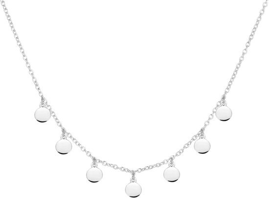 The Fashion Jewelry Collection Ketting Rondjes - Zilver Gerhodineerd - dames - lengte 41cm