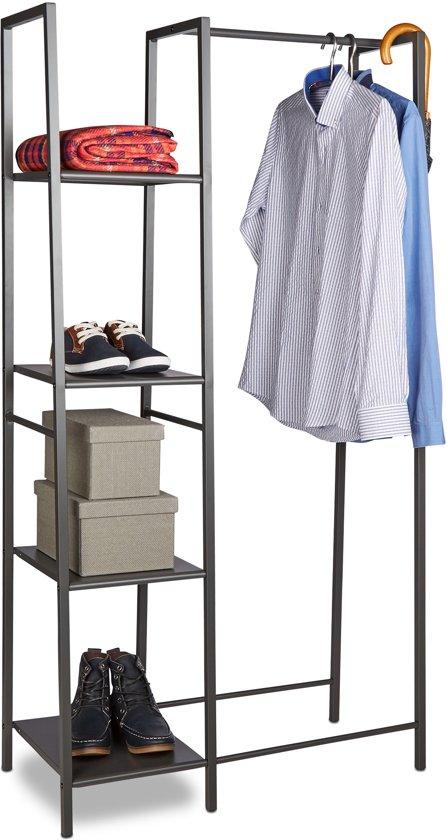 Planken Voor Kledingkast.Bol Com Relaxdays Kledingrek Metaal Met 4 Planken Open