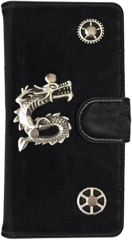 MP Case® PU Leder Mystiek design Zwart Hoesje voor HTC One X10 Draak Bedel book case wallet case in Guirsch