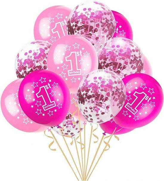 Verjaardag Meiden 16 Jaar.Happy Birthday 1 Jaar Roze Ballonnen Set 1 Jaar Meisjes Verjaardag 5 Roze Confetti Ballonnen En 10 Roze Ballonnen Baby Verjaardag Of