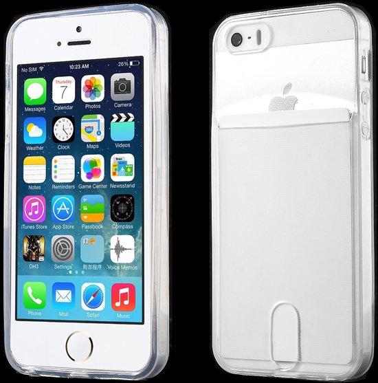 65a716031a8 Shop4 - iPhone SE Cover - Zachte Back Case Transparant met ruimte voor Pasje
