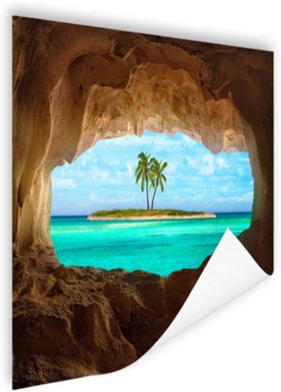 Paradijs in het Caribisch gebied Poster 120x80 cm - Foto print op Poster (wanddecoratie woonkamer / slaapkamer) / Zee en Strand