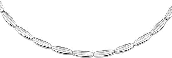 The Jewelry Collection Ketting Poli/mat 4,5 mm 43 cm - Zilver Gerhodineerd