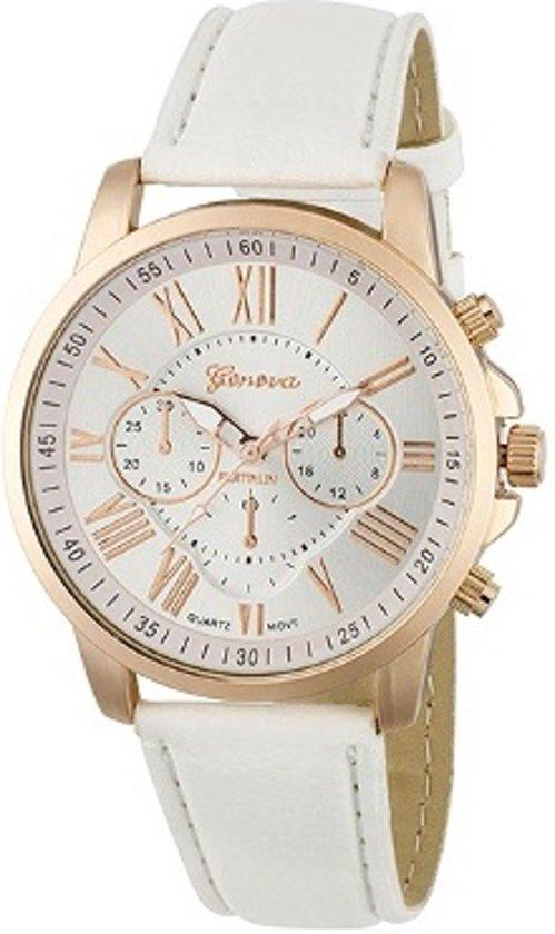 Geneva Roman Horloge - Wit   Romeinse Cijfers   PU Leder   Fashion Favorite