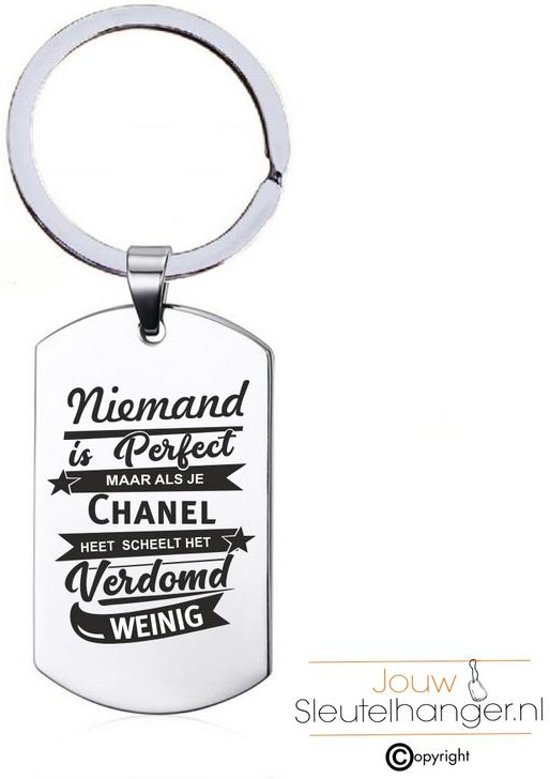 Niemand Is Perfect - Chanel - RVS Sleutelhanger