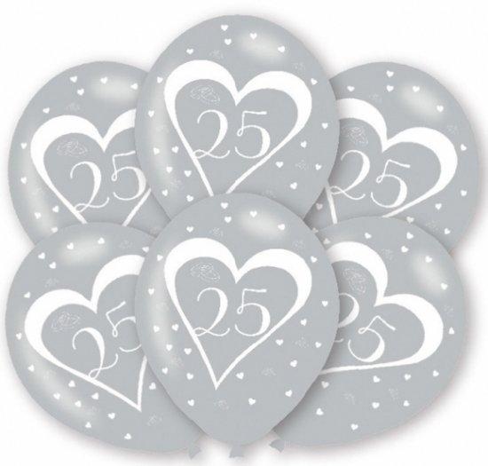 Super bol.com   Ballonnen zilver 25 jaar 6 stuks - zilveren huwelijk #WB76
