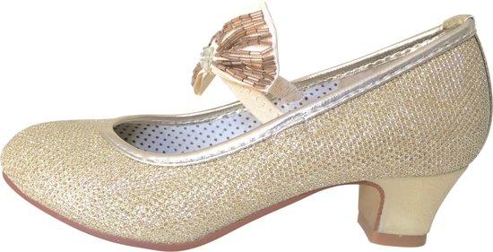 21e7ddb203d8ba Spaanse Prinsessen schoenen goud glitter strikje De Luxe maat 32 -  binnenmaat 21 cm -
