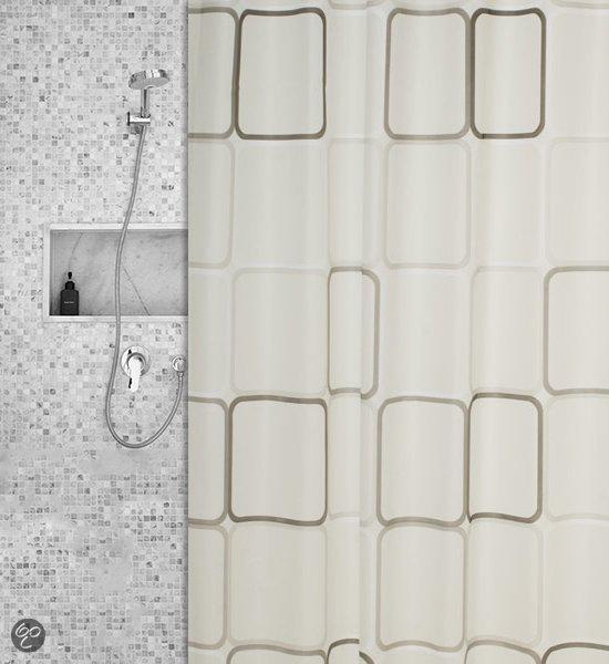 Roomture - douchegordijn - vierkanten - 180 x 200 cm