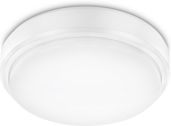 PROLIGHT plafondlamp - 21cm - 12W - LED integrated - IP54 - witte rand met witte diffuser