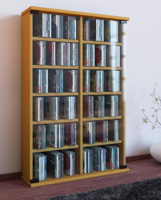 bol.com | CD DVD kast opbergmeubel Roma met glasdeuren (beuken)