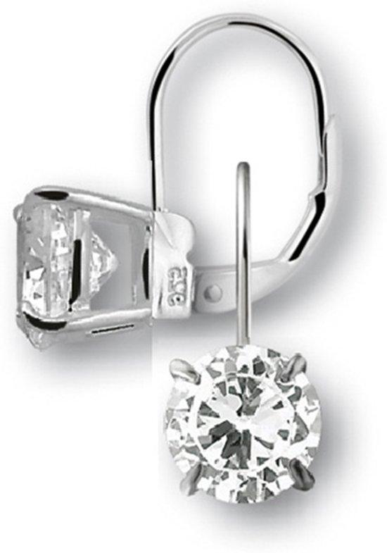 Silventi 921301136 Zilveren oorhangers - zirkonia rond 10 mm - lengte 2 cm - zilverkleurig