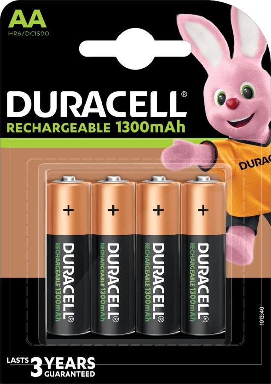 Duracell AA Oplaadbare Batterijen - 1300 mAh - 4 stuks