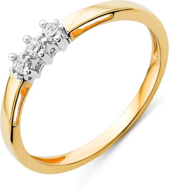 Majestine 9 karaat Ring Geelgoudkleurig (375) met Diamant 0.05ct Maat 56