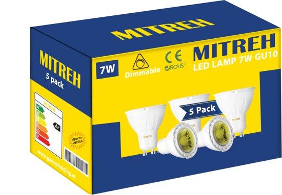 5 X LED 7W (gelijk is aan 50W gloeilamp)  ,GU10, warm wit 3000K Dimmable [Energy Class A +]