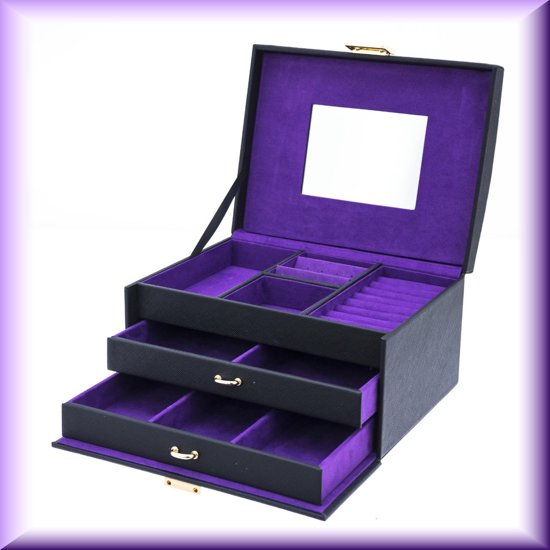 Fraaie zwarte  juwelendoos Flowers, met paarse binnenkant