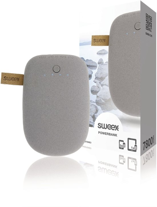 Sweex SWSTONE3 Draagbare Powerbank 7800 Mah Usb Grijs