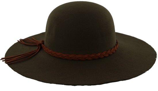 Tijdloze hoed groen - gevlochten PU kunstleer decoratie - verstelbaar HAT005-003 Dielay