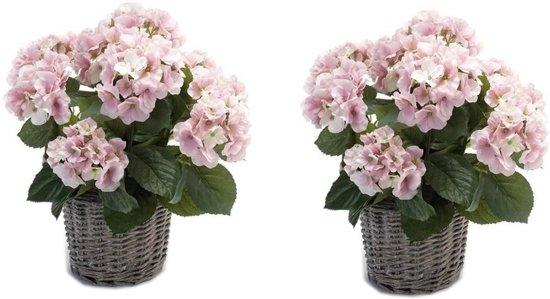 2x Kunstplanten Hortensia roze in rieten mand 45 cm - Kamerplanten roze Hortensia woondecoratie