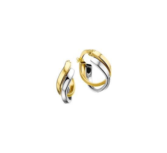 The Jewelry Collection Oorringen 5,5 mm Vlakke Buis - Bicolor Goud