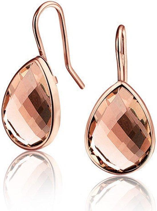 Montebello Oorbellen Ecolette - Dames - Zilver Rosé - Swarovski Kristal - Druppel - 14 x 10 mm - 20 mm
