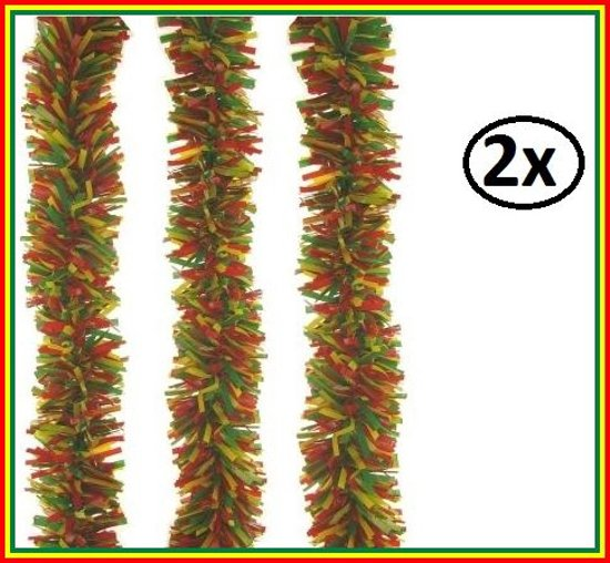 2x P.V.C. slinger brandvertragend rood/geel/groen 10m