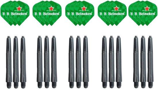 Dragon darts - 15 stuks Heineken - darts flights - inclusief 15 stuks medium - darts shafts - zwart