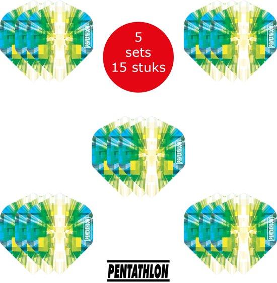 Dragon Darts - 5 sets (15 stuks) Pentathlon Explosion - darts flights - super stevig - blauw-groen - dartflights - dart flights