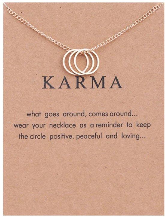 Karma Ketting - Rondje aan ketting - Geluksketting - 3 Cirkel - Goudkleurig