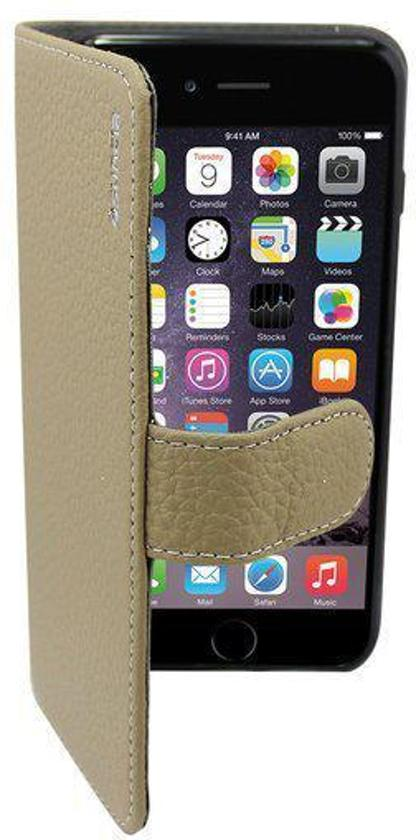 Suncia PREMIUM Leather5 Case / Boekvorm Hoes voor de Apple iPhone 6 Plus Grijs