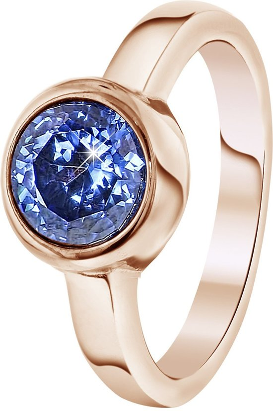 Colours by Kate - Stalen ring roseplated met licht blauwe zirkonia