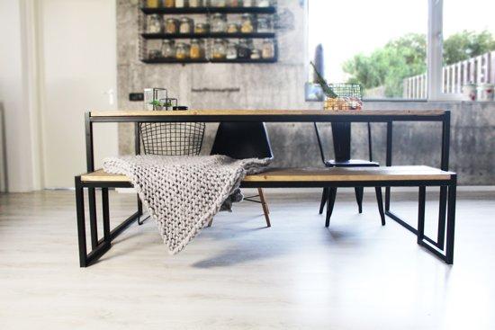 Eettafel Hout 160.Bol Com Industriele Eettafel Tafel Hout En Metaal Zwart