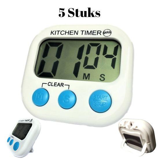 5 Kitchen Timers - Digitale Kookwekkers met Groot Display en Magneet - Gouda Select