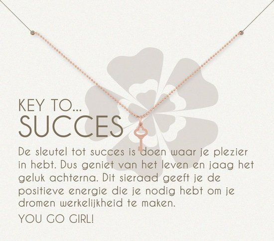 Simply Because Key to succes! Ketting (roségoud, bedel sleuteltje) 42 cm