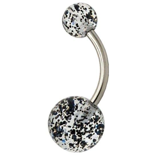 Fako Bijoux® - Navelpiercing - Acryl & RVS - Glitter - Zwart