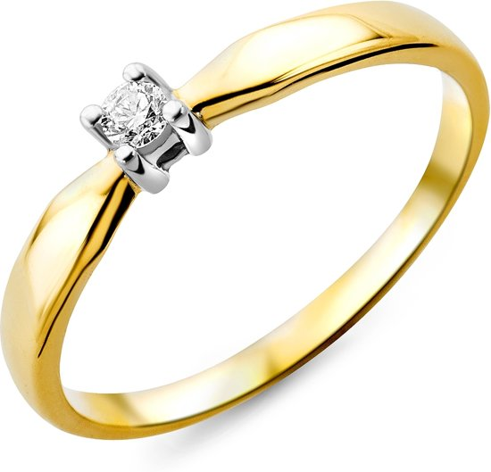 Majestine 9 Karaat Solitair Ring Bicolor Wit/Geelgoudkleurig (375) met Diamant 0.05ct Maat 56