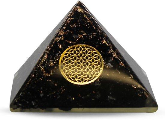 Orgone Pyramide van Zwarte Toermalijn met Flower of Life Groot