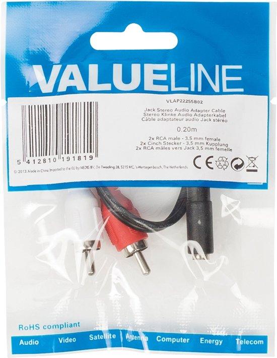 Valueline RCA naar 3,5 mm 0,2 meter zwart