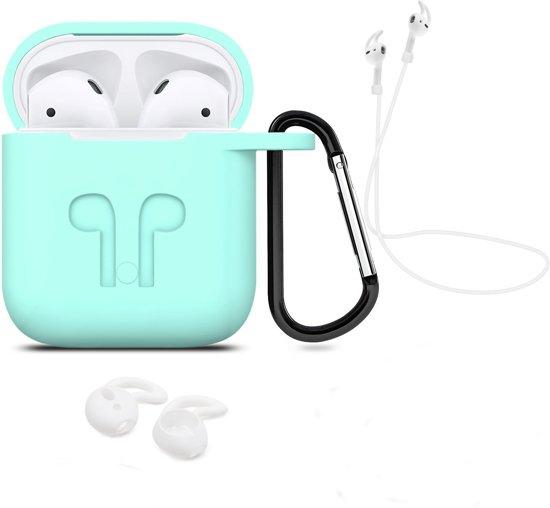 3 in 1 set! Hoesje voor Airpods siliconen case cover beschermhoes + strap + earhoox voor Apple Airpods - mint groen